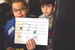 Little composers listen to their work 2