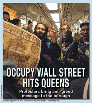 Occupy Wall Street reaches Queens, takes the subway