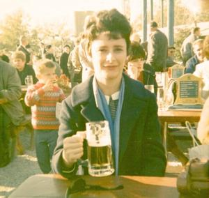 <p>Doris Rausch drowning her sorrows — about the fair's closing — on its last day.</p>