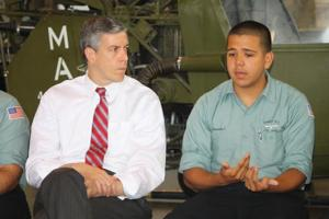 Arne Duncan. U.S. Secretary of Education, visits Aviation High School