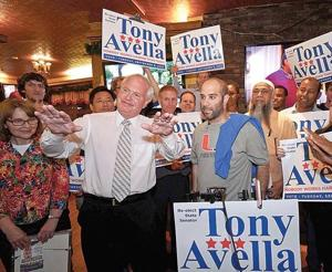 <p>State Sen. Tony Avella with his wife, Judy beside him, at his victory party last week in Bayside.</p>