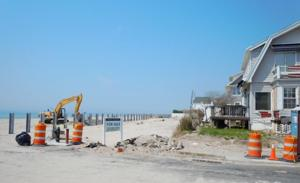 Rockaway Beach protection wall under construction 1