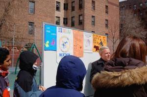 Jimmy Van Bramer and PS 150 launch poster campaign to clean up the dog poo 1