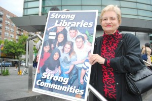 Residents protest library budget cuts 1