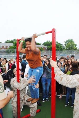 Marine Corps lands at Forest Hills High School for Fleet Week visit