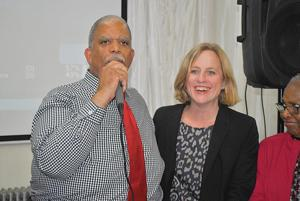 <p>Former City Councilman and Deputy Borough President Leroy Comrie is joined by a beaming Borough President Melinda Katz as he speaks to supporters after defeating state Sen. Malcolm Smith in Tuesday's primary. As the Democratic nominee for the 14th District, Comrie is all but guaranteed to win in November.</p>
