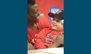 <p>Cancer survivor Danny Alini, right, and St. John's basketball star Chris Obekpa have become inseparable over the last three years.</p>
