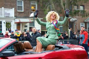 <p>Panti Bliss, the famous drag queen from Dublin, sits atop a red convertible, waving to onlookers at the 15th annual St. Patricks Day for All Parade on Sunday in Sunnyside. Mayor de Blasio, who will not march in the Manhattan parade, was also in attendance.</p>