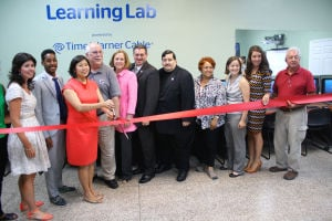 Ribbon cutting for new technology lab 1