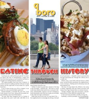 <p>Scotch eggs from Woodbines, left, and maple bacon popcorn from Alobar, right, were just two of the delectable munchies featured in the Local Finds Queens Food Tour of Long Island City.</p>