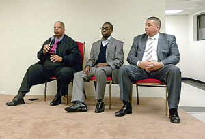 <p>Councilman Leroy Comrie, left, Roy Paul and the Rev. Phil Craig, part of a panel discussing a host of community issues last week at the Ageless Summit in Laurelton.</p>