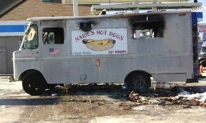 Hot dog truck up in flames 1