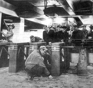 <p>The first modern subway turnstiles at the Hunter's Point Station went in on April 9, 1948.</p>