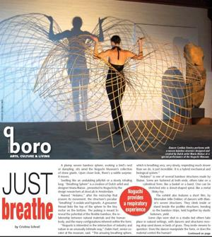 <p>Dancer Cynthia Stanley performs with a woven bamboo structure designed and created by Dutch artist Maria Blaisse at a special performance at the Noguchi Museum.</p>