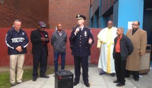<p>Assistant Chief David Barrere speaks at a vigil outside Jamaica Hospital Medical Center on Sunday, where Police Officer Kenneth Healey was listed in critical condition. Last Thursday, Healey and three other officers were attacked by hatchet-wielding jihadist Zale Thompson on Jamaica Avenue. Thompson managed to injure Police Officer Joseph Meeker before being shot and killed by the two other cops.</p>
