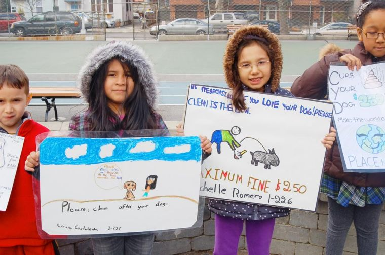 Jimmy Van Bramer and PS 150 launch poster campaign to clean up the dog poo 2