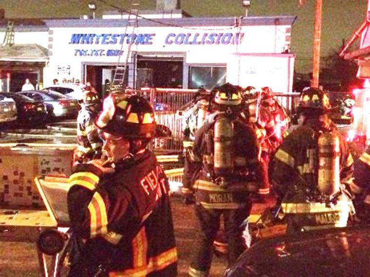 Fire damages auto shop 1