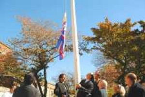 Latin American flag flies at Borough Hall 