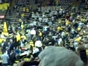 Hawkeyes fans storm the court, 2011