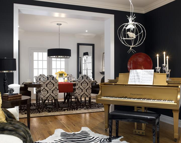 DIVINE DESIGN Gold Piano Is Centerpiece Of Black White