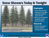 Breezy with a chance of isolated afternoon snow showers