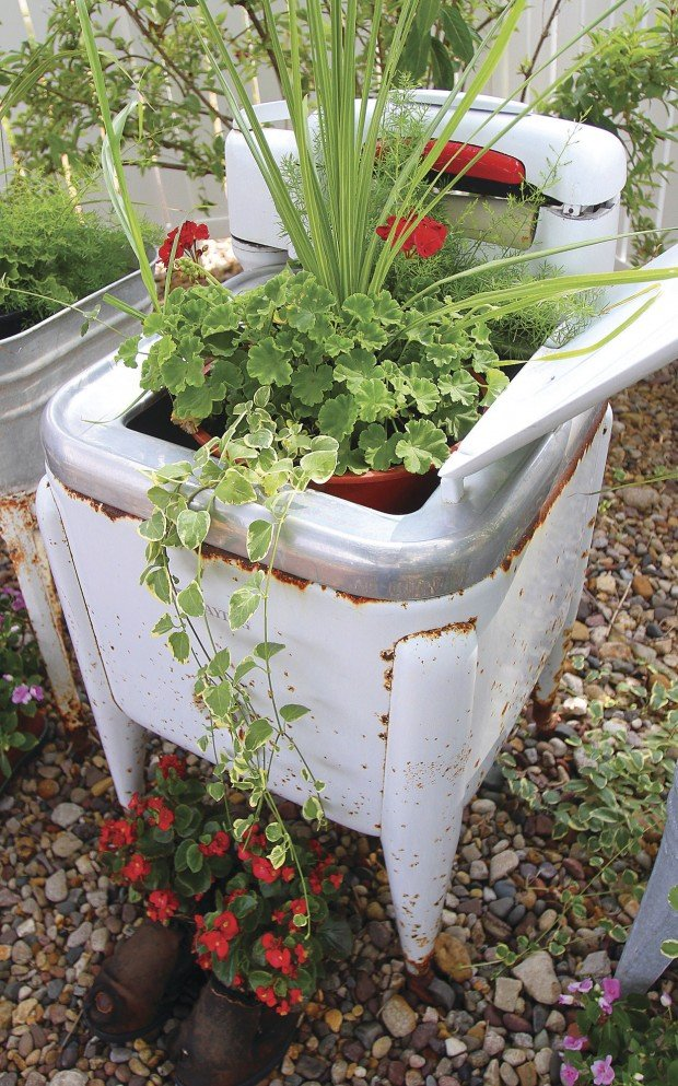 Unusual Containers Run The Gamut In Dewitt Garden