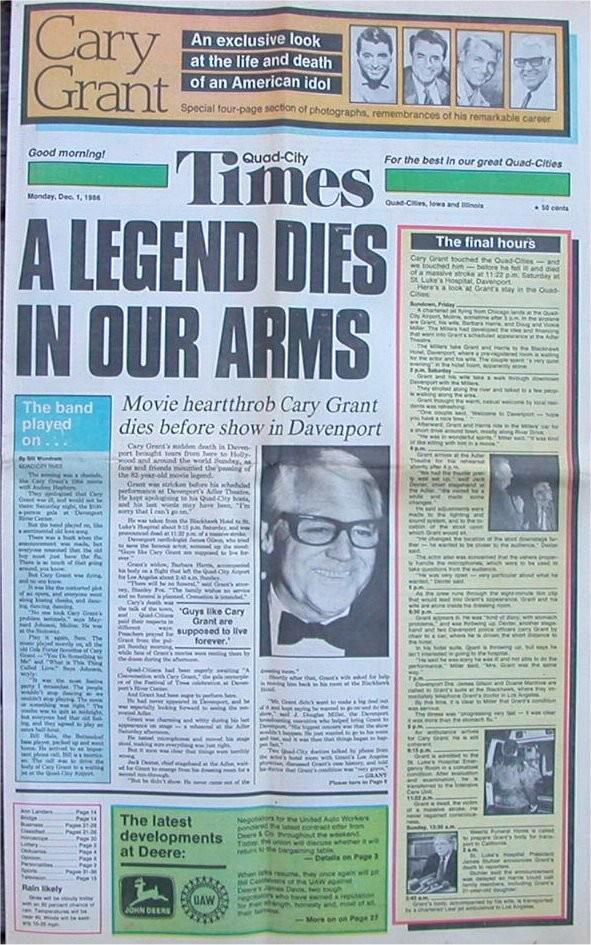 Quad-City Times cover on Dec. 1, 1986