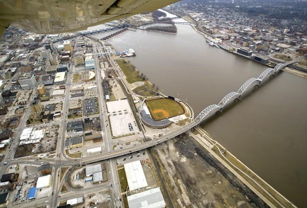 Aerial - Davenport riverfront