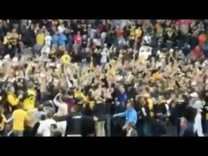 Hawkeyes fans storm the court, 2012