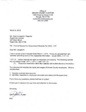 denial letter from meade county auditor
