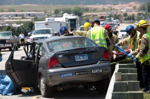 Rollover accident blocks I-90