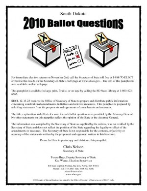 Pamphlet on South Dakota ballot measures available
