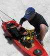 Tom Lyman tests the GPS sled
