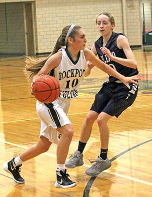 <p>RFHS guard Brynn Grover gets by a Goliad defender and into the front court.</p>