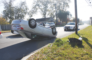 Motorist escapes serious injury in a single-vehicle accident Thursday