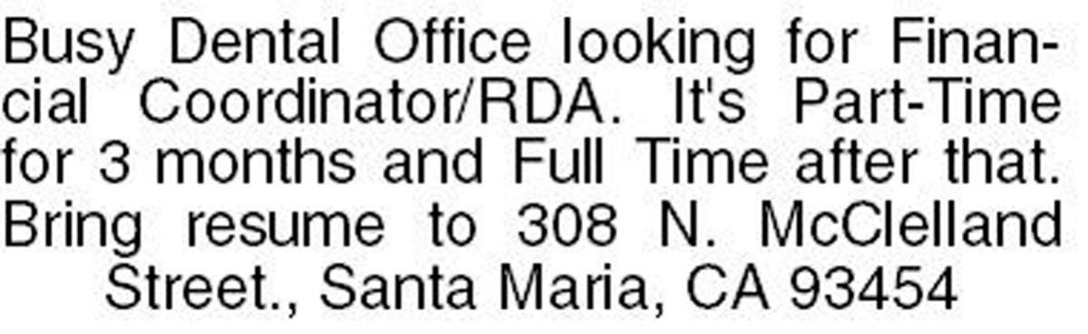 Help Wanted: Financial Coordinator / RDA
