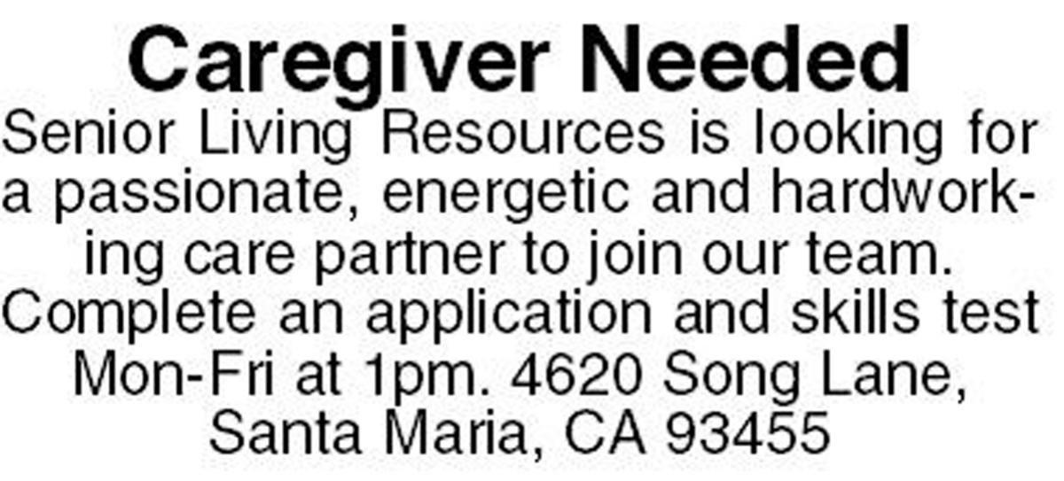Caregiver Needed