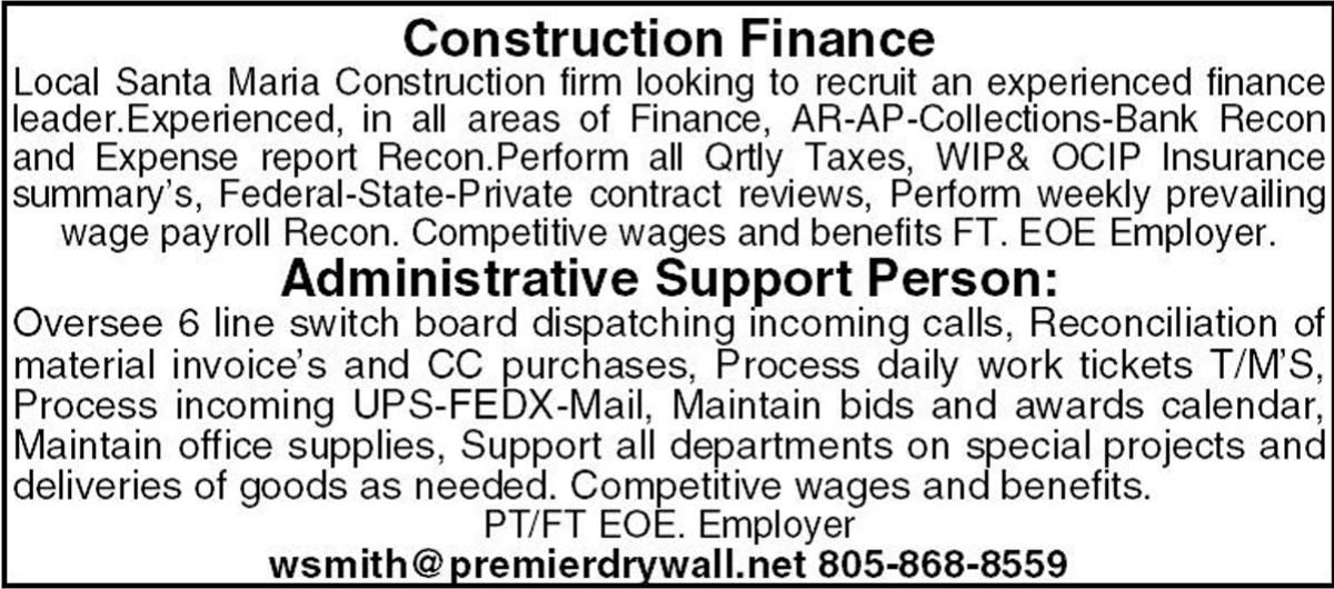 Help Wanted: Construction Finance and Administrative Support