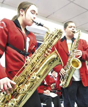 Keene Middle Schoolers strike up the band instruments