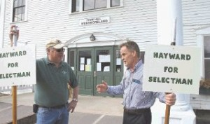 <p>Jim Hillier, left, of Westmoreland chats with Mark Hayward, right, who was running for selectman in Tuesday's elections. Hayward's effort came up short. For Westmoreland town meeting results, see page 8.</p>