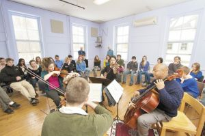 String quartet performs for students