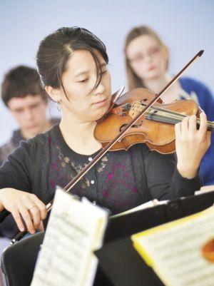 String quartet performs at school