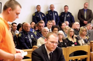 <p>Eric Knysz addresses the court Tuesday prior to being sentensed to life in prison for killing Michigan State Police Trooper Paul Butterfield in 2013.</p>