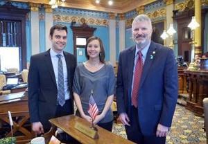 Sen. Hansen welcomes Shelby pastors of New Hope Community Church to Senate session