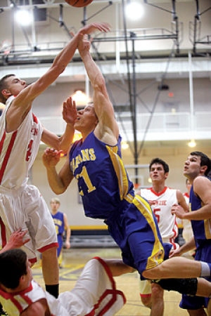 <p>Mason County Central's Josh Ritzema drives to the basket Wednesday, March 5, 2014. MCC will face Ludington in the Class B District finals in Manistee at 7 p.m.</p>
