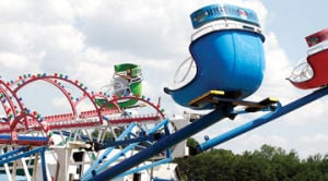 <p>Thomas Porter of Pentwater rides the Disco at the Western Michigan Fair Thursday. </p>