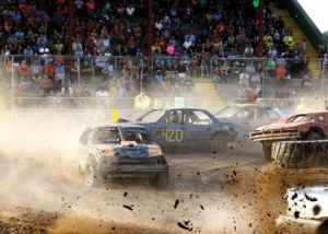 <p>The Scramble and figure 8 demo derby was held Tuesday in the grandstands at the Western Michigan Fair.</p>