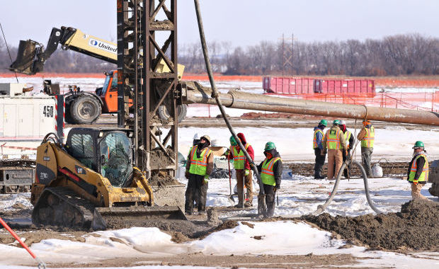Construction workers at Port Neal location, March 2014. To complete the expansion, nearly 2,000 construction workers will be needed. Photo by: Dawn J. Sagert, Sioux City Journal