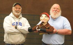 <p>Lions Club members (l-r): Tex Dickens and John Turner pose with a pirate captain made from papier-mache and cornmeal, made by Lion Fred Besio, that will be part of the club's Citrus Fair exhibit.</p><p></p>