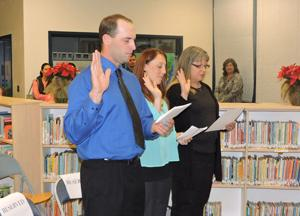 <p>CUSD incumbent Todd Lands, and new trustees Jacque Garrison and Vickie Hegarty took the oath of office on Dec. 9, with swearing-in administered by School Board President Dianna MacDonald.</p><p></p>